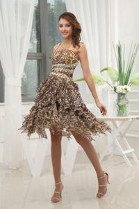 Leopard Chiffon School Spring Party Dress One Shoulder Beaded and Ruffled in Michigan